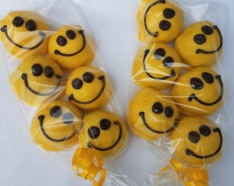 Cake Balls: Yellow Smile Cake Bitty Bites. Get well. Birthday, thank you gift. Congratulations.