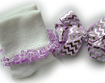 Kathy's Beaded Socks - Lavender and Silver Foil Chevron Beaded Socks and Hairbow, lavender socks, tri bead socks, chevron socks, silver sock