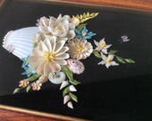 Vintage Shell Art. Sea Shell Picture. Flowers on Black Velvet, in Shadowbox Frame. Victorian Diorama Style, Sweet, Pretty, and Dark.