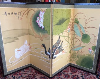 Large Japanese Painted Silk Screen. Four Panel Folding Screen. Birds, Lotus Flowers. Signed Byobu, Asian Fireplace Screen / Divider.