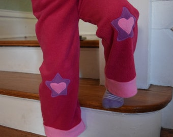 Magenta Fleece Pants with Decorative Star and Heart Applique,Size 4T