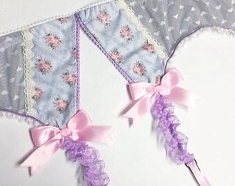 Grey & Light Pink Floral Garter Belt - Pick Your Size - LIMITED EDITION - Handmade Vegan Bridal