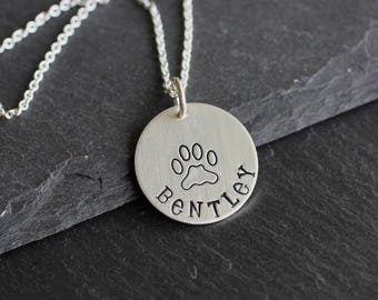 Special Pet Necklace; Dog Lover Necklace; Sterling Silver Hand Stamped