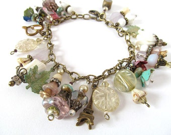 Paris Wedding Charm Bracelet, Romantic Beaded Jewelry, Shabby Chic Bracelet, Vintage Brass & Glass Bead Bracelet, moonlilydesigns