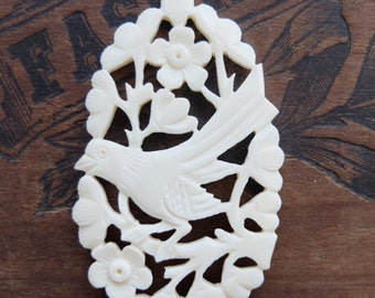 Vintage Pendant Carved Bone Bird Double Sided