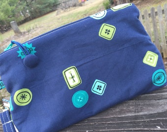 Navy button zippered wristlet clutch