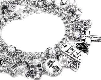Charm Bracelet, Day of the Dead Jewelry, Mexican Holiday Jewelry, Sugar Skull, Skeleton Jewelry