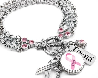 Breast Cancer Charm Bracelet, Breast Cancer Jewelry, Awareness Bracelet, Personalized Breast Cancer Jewelry, Pink Ribbon