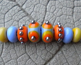 Southwest Pair Lampwork Beads by Cherie Sra R114 Flamework Glass Bead Light Blue Orange Blue Lime Glass Dots Spacers Lampwork Earring set