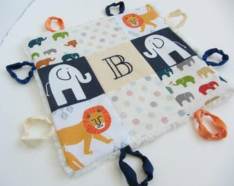 Personalized Baby Lovey with Custom Hand Embroidered Initial or Name ~ Choice of Backing Fabric ~ Elephants Lions Dots ~ Primary Colors
