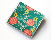 Vinyl Moo Square Card Holder - New Day / floral,  vinyl, snap, mini case, moo case, small, square, foxes, gift, flowers, green, hearts, cute