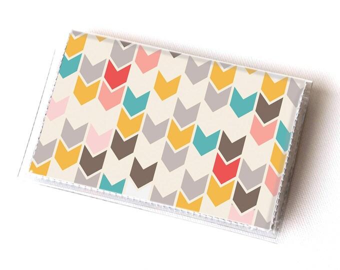 Vinyl Card Holder - Arrows / geometric, happy, colorful, card case, vinyl wallet, women's wallet, small, pretty, handmade, cute, retro