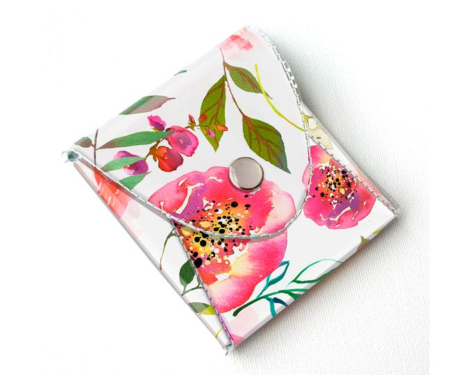 Vinyl Coin Purse - Pastel Floral Pink / coin, wallet, vegan, change, peony, small, little, pocket wallet, gift, flowers, floral, peonies