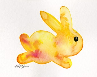 Yellow Bunny Painting, rabbit, flowers, watercolor art, Rabbit Watercolor Painting Easter Minimalist Abstract art Kathy Morton Stanion