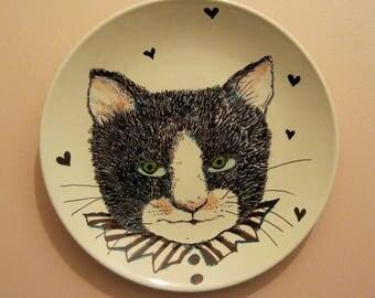 cat art, hand painted plate ,original art on plate, stipple,unique wall art, black white illustration