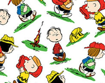 Quilting Treasures, Camp Peanuts, Peanuts character Toss on White,  yard