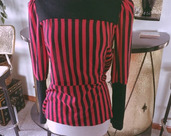 Vintage 1940s style Blouse red black stripe Swing PinUp Rockabilly M L 40s 1930s 30s