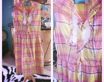 Vintage 1950s Dress plaid yellow pink purple day pinup 50s XS S