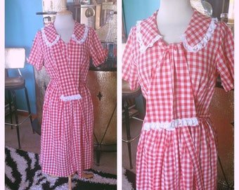 Vintage 1940s style Dress red white gingham L XL Pinup Swing Rockabilly 40s VLV