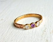 Carved Arrow Ring with Amethyst and Diamonds - Handmade One of a Kind Multi Stone Diamond Band