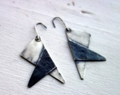 Two Toned Sterling Silver Triangle Dangles- Black and White Overlap Triangle Earrings