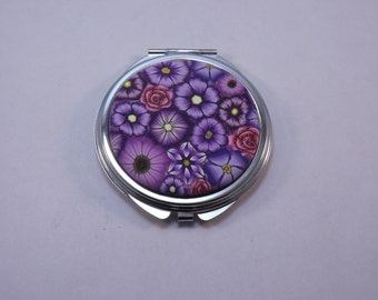 Polymer Clay Embellished Compact Purse Mirror, Purple Millefiori Floral