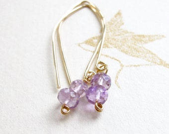 Amethyst & 14k Gold Filled Drop Earrings