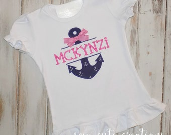 Girl Anchor Shirt, Girl Cruise Shirt, Girl Ruffle shirt, Girl Sailing Shirt, Girl Cruise outfit, Girl birthday shirt, sew cute creations