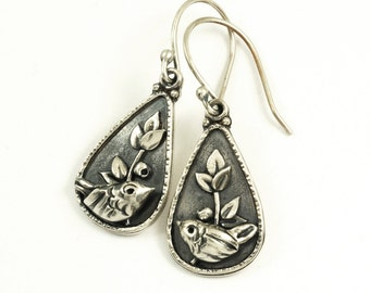 Silverberry Earrings - Sterling Silver Bird Earrings, Custom Made Nature Jewelry with Birds