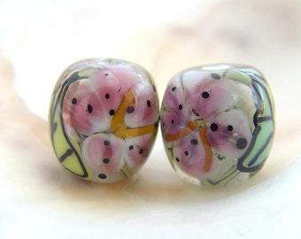 Floral Handmade Lampwork Bead Pair