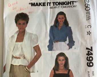 Vintage McCall's Women's Blouse Pattern, McCalk's 7499, Size 10, Bust 32 1/2, Vintage 1980's Pattern