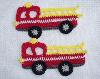 2 thread crochet applique fire engines -- 2462