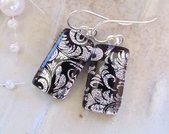 Silver Earrings, Fused Dichroic Glass Earrings, Dangle, Sterling Silver, Silver, Black, A6