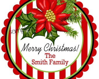 Personalized Christmas Stickers, Poinsettia Christmas labels, Poinsettia Gift Stickers,Holiday labels, Christmas, Gifts, Labels, set of 12