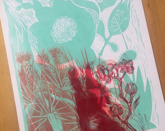 Cactus and Southern Flowers One of a Kind Monoprint Hand Printed Letterpress Poster linocut wood engraving wood type no102