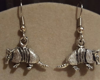 Armadillo Earrings Pewter