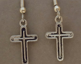 Antiqued Style Cross Earrings Pewter
