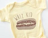 Philly cheesesteak baby onesie whiz kid
