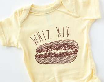 Philly cheesesteak baby onesie whiz kid