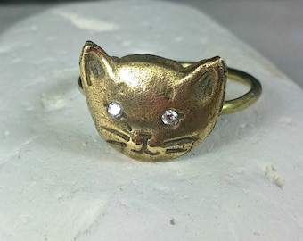 Solid Gold and Diamond Cat Ring, rustic yelow gold and diamond kitty ring, birthstone ring, crazy cat lady ring