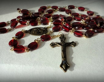 "Vintage 26"" ROSARY Flat Red Garnet Plastic Bead Goldtone Chain Brass Cross St Therese Pray for Us Lucite Bead Crucifix Necklace Religious"