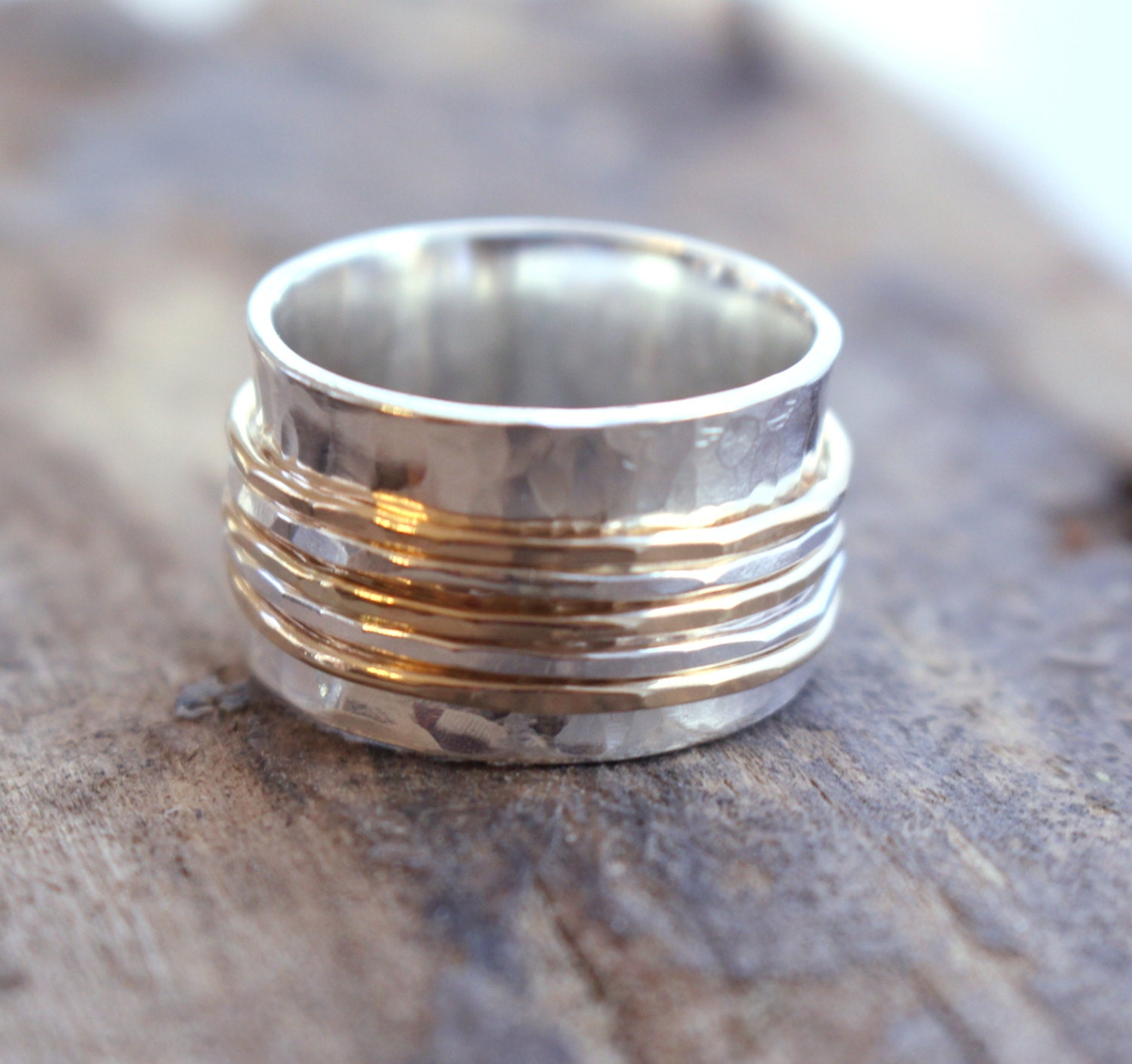 sterling and gold spinner ring fiddle ring silver and by