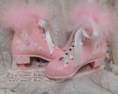 Little Girl Vintage Winter Rose Ice Skates Pair, Hand Painted Display Decor, Pink Boot,Light Pink Roses, Glittered, Heel Checks, ECS