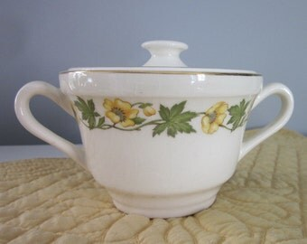 Large Vintage Sugar Bowl - Yellow Floral China - Made In U.S.A.