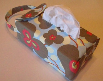 NEW!  Automobile Hanging Tissue Box Cover*/ Tissue Box Cozy / Automobile Accessory For Your Car / Amy Butler Lotus Morning Glory