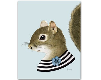 Squirrel lady print 8x10 - Berkley Bestiary - Dapper Animals - Woodland Nursery - Ryan Berkley Illustration - Modern Kids Decor