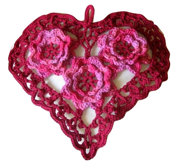 Big Red Irish Crochet Heart with 3D Roses in Cherry Pink - Irish Crochet Wall Hanging - Heart Wall Decor - Heart Pillow Top - Heart Decor