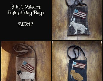 Mailed Paper Pattern Animal Flag Bags Rabbit Peep Sheep Bunny Chick Wool Pocket