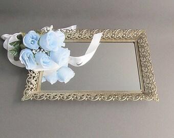 Vintage Vanity Tray, Mirrored Tray, Cosmetic Tray, Filigree Tray, Dresser Tray