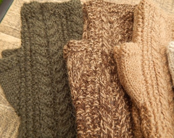 Adorable Knitted Fingerless Mitts in Olive, Brown Tweed and Tan Women's and Teen's Winter Wear Handmade